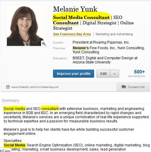 Distribua sua palavra-chave no seu Resumo do LinkedIn
